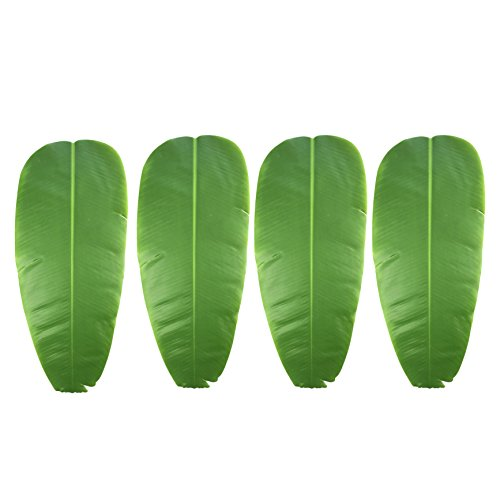 Warmter 4 PCS Artificial Plant Leaves Banana leaf Tropical Leaves Decorations Luau Safari Party Supplies 24.4''x10.6'' (4 Pack) by Warmter