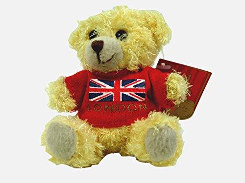 Teddy Bear Keyring - London Bear with Red T-Shirt, Union Jack Print (Keel Toys Teddy Bear)
