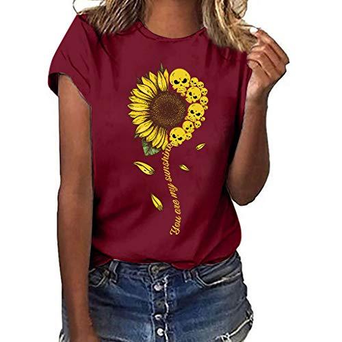 Happy Halloween Shirt Women Funny Sunflower Skull Print Plus Size Tops Short Sleeved Basic T-Shirt Blouse Wine Red]()