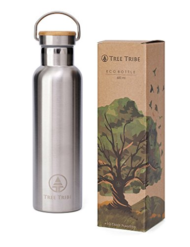 Tree Tribe Stainless Steel Water Bottle 20 oz - BPA Free, 100% Leak Proof, Eco Friendly, Double Wall Insulated for Cold/Hot Drinks, Wide Mouth - Ideal for Hiking, Outdoor Sports, Yoga, Gym, Camping