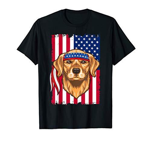 4th of July Shirt Fun American Flag USA Golden retriever T-Shirt