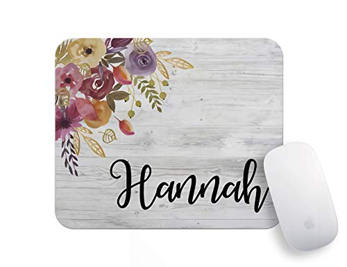 Personalized Mouse Pads for Computers - Lover Gift School Supplies Office Home Decor Gray Wood Grain Flower Mouse Pad Funny Mini Mousepad Office Supplies Office Desk Accessories Funny Mouse Mat.