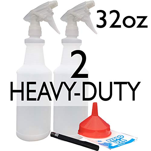 EZPROUSA 2-Pack 32oz Clear White Water Leak-Free Chemical Hair Spray Empty Heavy-Duty Industrial Sprayer Pet Grooming Cat Dog Horse Sanitize Auto Car Detailing Window Cleaning Janitorial Supply ()