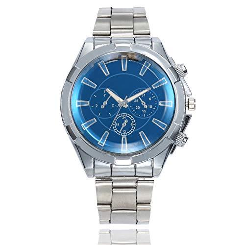 Wrist Watches Fashion Accessories, Men's Alloy Band Round Case Quartz Analog Business Wrist Watch Gift - Blue ()