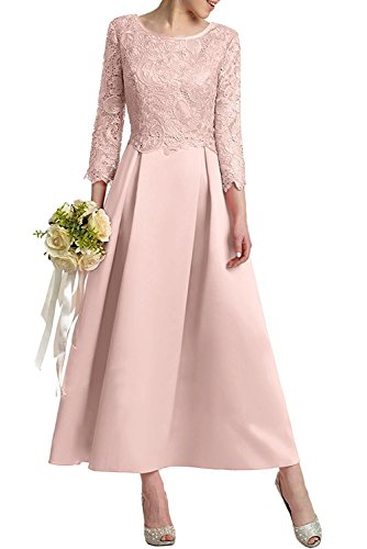 Satin Abendkleider Pink La Ballkleider Promkleider Hell Knoechellang Brautmutterkleider Rosa mia Spitze Braut Linie A Rock Herrlich xqwx7AXf