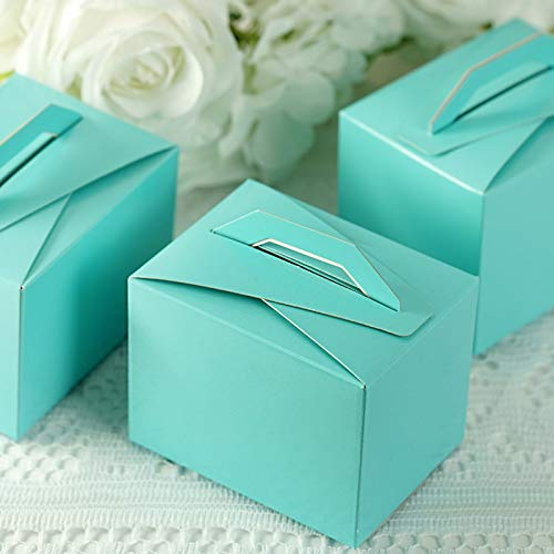 Efavormart 100pcs Turquoise Tote Favor Boxes Party Goodie Boxes Treat Box for Wedding Reception/Bridal Shower/Banquet Event
