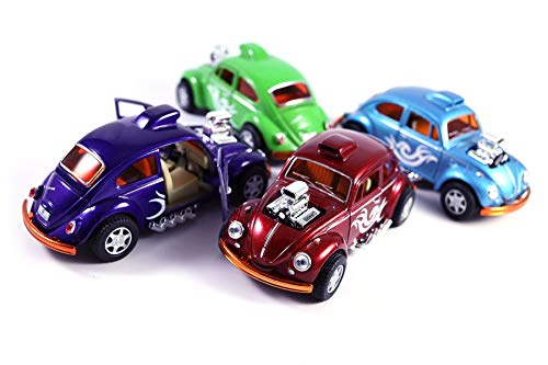 HCK Set of 4 1967 VW Beetle Drag Racer - Pull Back Toy Cars 1:32 Scale (Purple/Red/Blue/Green)