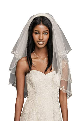 Affordable Wedding Veils - Passat White 1 Tier 3M NEW! Floral Beaded Scallop Edge Cathedral Wedding Bridal Veil 224