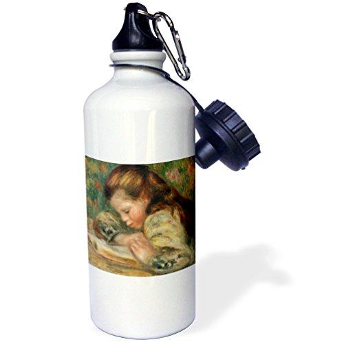 3dRose Child Reading, 1890s by Pierre Auguste Renoir-Sports Water Bottle, 21oz (wb_171097_1)), 21 oz -