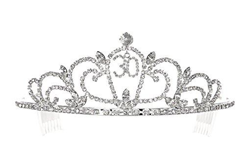 Birthday Party Rhinestone Crystal Tiara Crown - 30th Thirty Thirtieth T1195 for $<!--$19.99-->