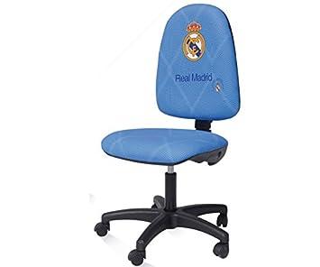 Real Madrid Silla de escritorio giratoria ergonómica sin reposabrazos (Azul): Amazon.es: Hogar
