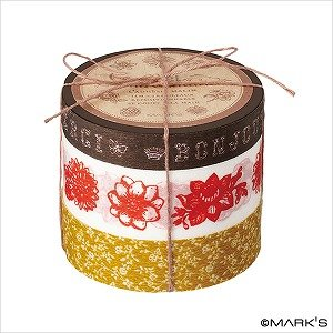 Japanese Washi Masking Tape Set of 3 - Coffret Ducouturier Floral Brown Floral Coffret