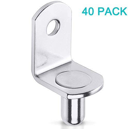 40 Pcs Shelf Support Pegs,6 mm(1/4 Inch) Shelf Bracket Pegs with Hole,Nickel Plated L-Shaped Clips for Kitchen & Bookcase Shelf Cabinet Furniture Closet Shelf Pins Support (Peg 6)