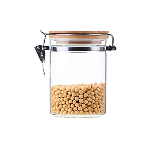 Food Storage Container,KKC Metal Buckles and Bamboo Lid with Airtight Easy Lock by Hmane--850ML
