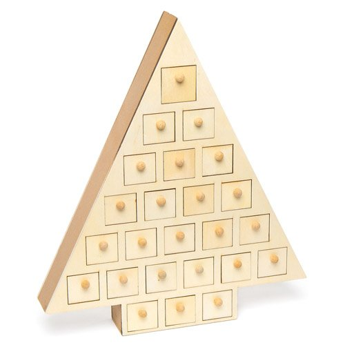 Baker Ross Wooden Advent Calendar Tree for Children to Paint and Decorate for Christmas - Xmas Countdown Craft Activity for Kids (Each)