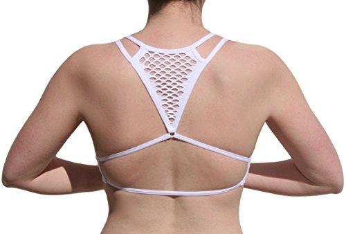 Racer Back Fishnet - Umita Women's Sexy Low U-Neck Padded Seamless Fashion Cutout Straps Yoga Bra Bralette (Fishnet Back In White)