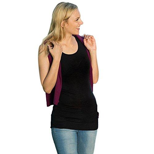 EcoAble Apparel Women's Long Tank Top Tunic for Layering, 70% Organic Merino Wool 30% Silk (42-44 / Medium, Black) (Merino Suit Wool)