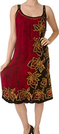 AA45 - Batik Print Embroidered Sleeveless Smocked Spaghetti Straps Short Dress - Red/One Size