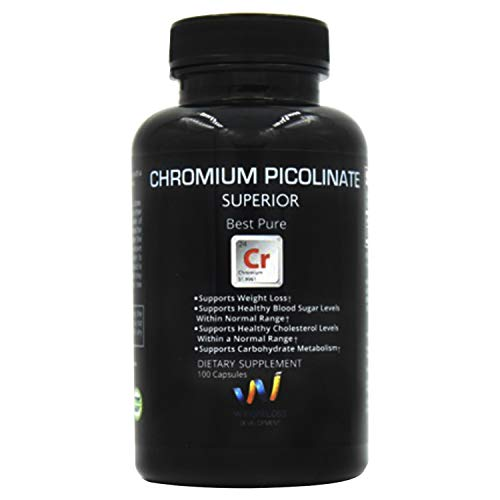 CHROMIUM PICOLINATE Supplements 200 mg for Weight Loss Management, Carb Metabolism - Non GMO Pills From Ultra Pure Source - 100 ()