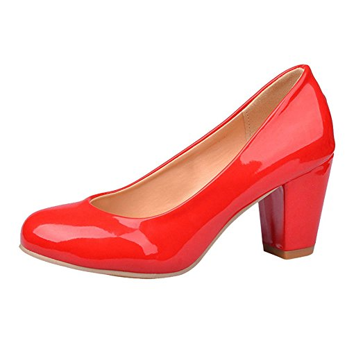 SJJH Casual Heels with Chunky Heel All Macth Court Shoes with Large Red Ps1g9T