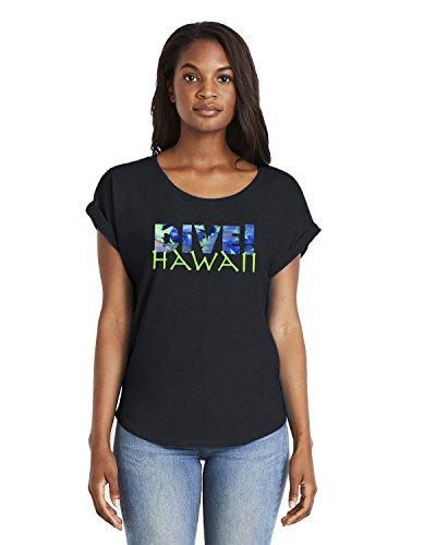 Diva Short Sleeve T-shirt (Life Is Balance Women's Dive Hawaii Dolman Sleeve Short Sleeve t-Shirt-X-Large-Black)