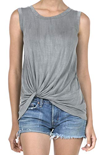 (SHOP DORDOR 9053 Women's Round Neck Sleeveless Twist Knotted Tank Top Grey L)