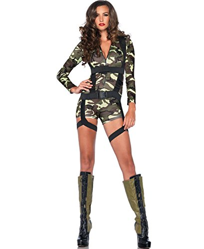 Mememall Fashion Army Girl Costume Adult Sexy Military Outfit Soldier Halloween Romper Jumpsuit (Sexy Soldier Costumes)