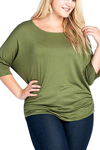 Women's Junior Plus Size Round Neck Dolman Sleeves Ruched Top Olive - Smocked Top Dolman Sleeve