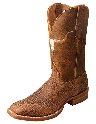 (Twisted X Men's Rancher Elephant Print Cowboy Boot Square Toe Brown 11 EE)