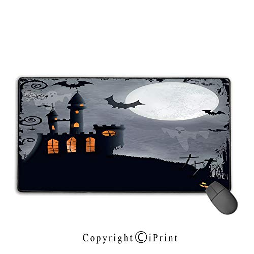 (Extended gaming mouse pad with stitched edges,Vintage Halloween,Halloween Themed Asymmetric Caste with Scary Bats and Ghosts Full Moon,Black Grey,Suitable for laptops, computers, PCs,)