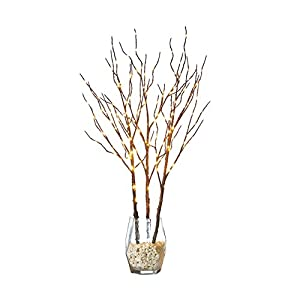 Hairui Tabletop Lighted Willow Branch Decor with Fairy Copper Lights 32inch 150LED, Pre-lit Twig Branch Tree Lights for Indoor Outdoor Home Christmas Garden Party Wedding Decoration Lights 3 Pack 51