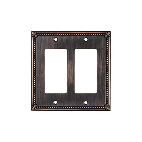 Rok Hardware Wall Light Decora Switch Plate Rocker Toggle GFCI Cover Traditional Brushed Oil-Rubbed Bronze 2 Gang