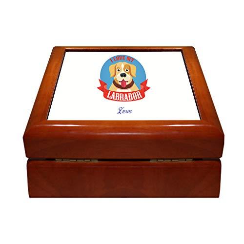 Style In Print Personalized Custom Text I Love My Labrador Wood Organizer Jewelry Box 4