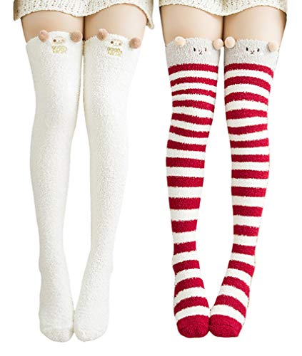 Wander G Womens Cute Cartoon Fuzzy Socks Over Knee Thigh High Stockings Winter Warm Stripe Leg Warmers -
