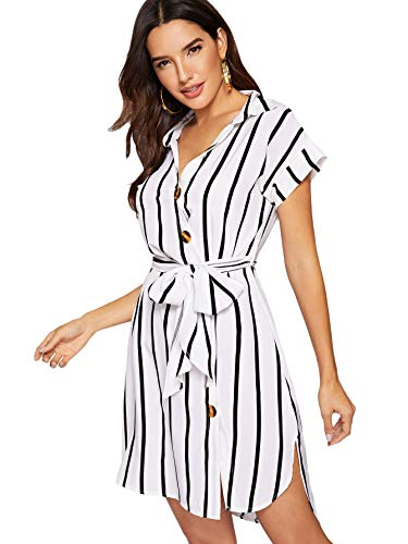 Striped Belted Shirt Dress - Romwe Women's Short Sleeve Button Down V-Neck Self Belted Casual Shirt Dress White Small