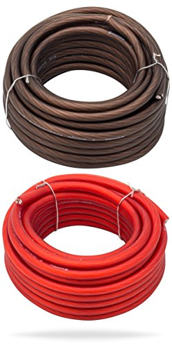 (InstallGear 8 Gauge 25ft Black and 25ft Red Power/Ground Wire True Spec and Soft Touch Cable)