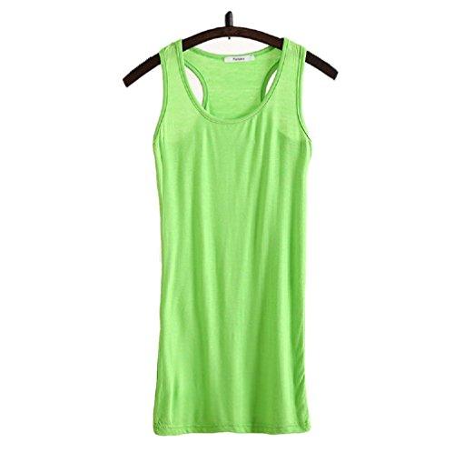 WENSENY Donna BXH Casual Canotta Senza Maniche T Shirt-Verde Chiaro-X-Large