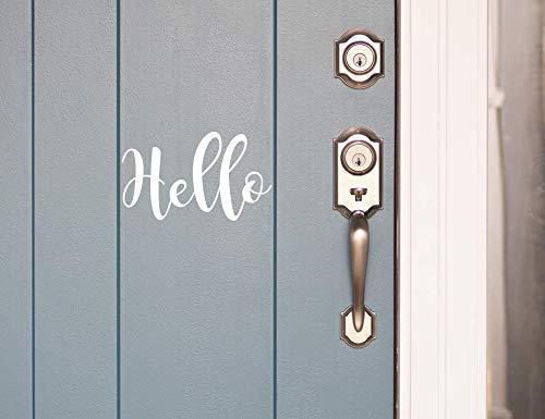 Hello Front Door Decal 5X8 White Hello Sticker for Door Removable Vinyl Decal