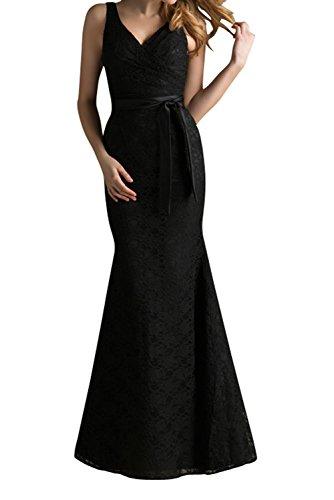 Gorgeous Bride Elegant Spaghetti-Traeger Spitze Mermaid Schleife Abendkleid Festkleid Abendmode