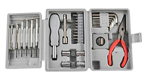HOME-X Tri-Fold Tool Set, 31 pc Kit with Socket/Allen Wrench and Precision Screwdrivers