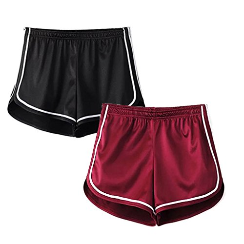 Women's Sexy Booty Dolphin Shorts Sports Gym Workout Yoga Hot Pants (S, 2Pack(1Red+1Black))