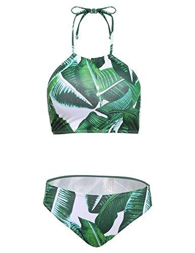 9f74ffe00f Ekouaer Womens Forest Leaves Printing High Neck Halter Bikini Set Swimsuit