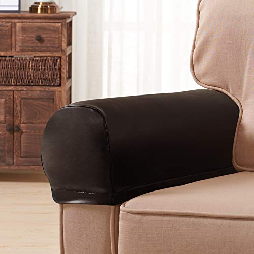 Subrtex Spandex Stretch PU Faux Waterproof Armrest Covers Set of 2 (Brown Leather) (Chair Sofa Brown And Leather)