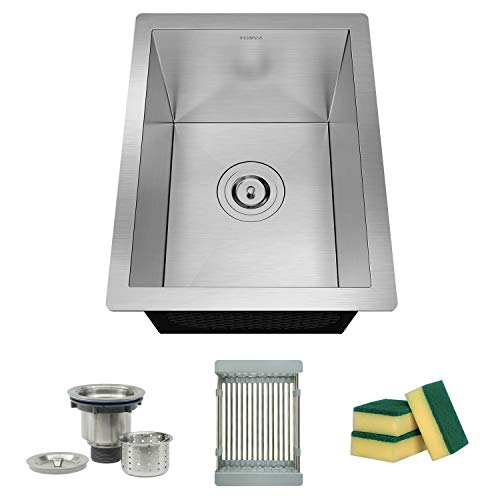 TORVA 14 x 18 Inch 16 Gauge Stainless Steel Undermount Sink, Single Blow Zero-Radius Bar Sink with Sliding Colander and Basket Drain Strainer Suit for 17
