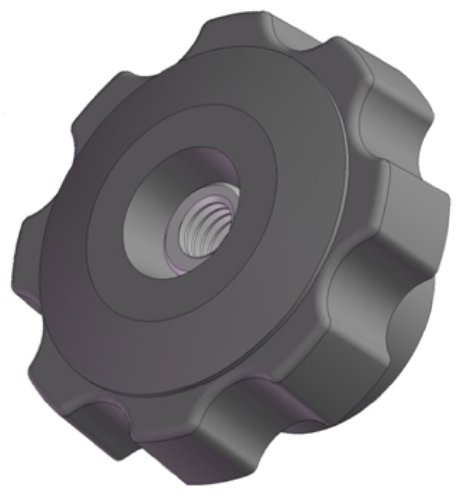 Innovative Components AN5C-F6-L-21 2.38'' Fluted knob thru hole 5/16 - 18 steel zinc locknut black pp (Pack of 10) by Innovative Components
