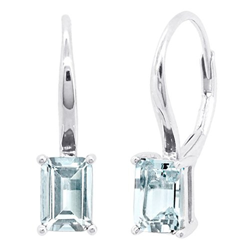 Aquamarine Earrings Leverback (Sterling Silver Genuine Natural Emerald Cut Aquamarine Amethyst Blue Topaz or Garnet Leverback Earrings (aquamarine))