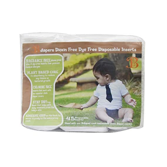 Bdiapers Disposable Chemical Free Nappy Pads for Baby Hybrid Diaper Covers (45 Pack)