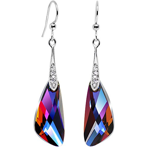 Body Candy Handcrafted Silver Plated Volcano Inspire Dangle Earrings Created with Swarovski Crystals