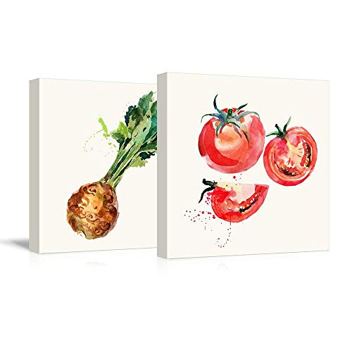 2 Panel Square Celery and Tomato Watercolor Fruits Watercolor Art and Illustrations x 2 Panels