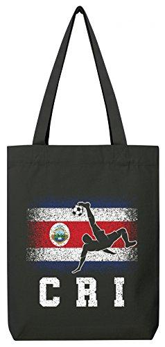 ShirtStreet Fußball WM Fanfest Gruppen Trikot Fan Premium Bio Baumwoll Tote Bag Jutebeutel Stanley Stella Costa Rica Football Player Black O0EfPTD6